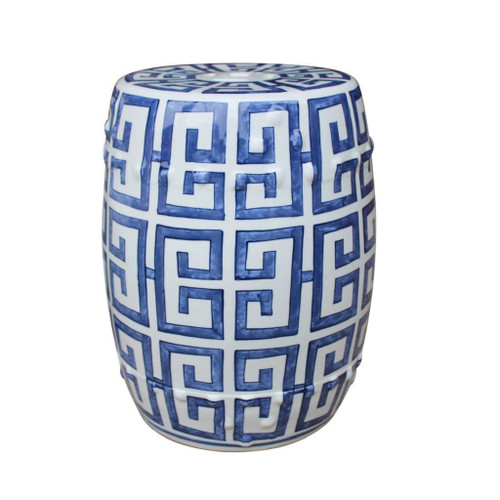 Blue and White Greek Key Stool