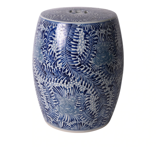 Blooming Flowers Indigo Garden Stool