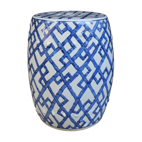Bamboo motif blue and white garden stool