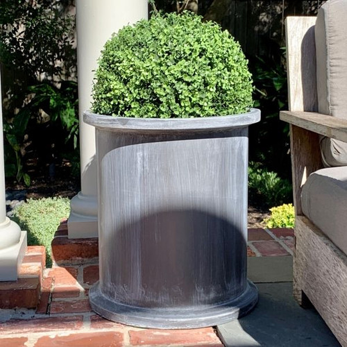 Grosvenor Round Planter with Faux Boxwood