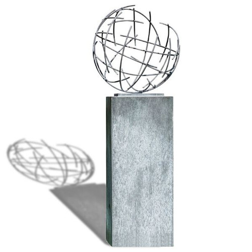 Zinc Nest Sculpture atop Column Pedestal