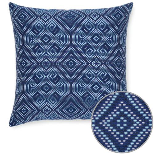 Midnight Tile Blue Sunbrella pillow