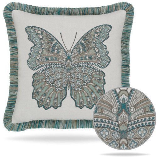 Mariposa Lagoon Fringed Pillow Details