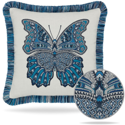 Mariposa Azure Pillow Detail