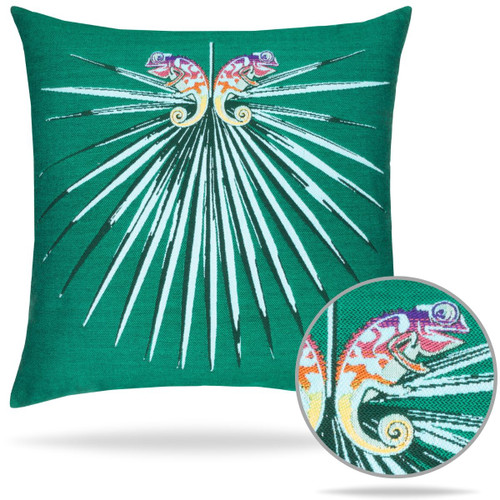 Elaine Smith  Chameleon Emerald Sunbrella Pillow