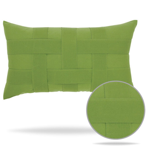 Elaine Smith Outdoor Pillow Basketweave Green Ginko