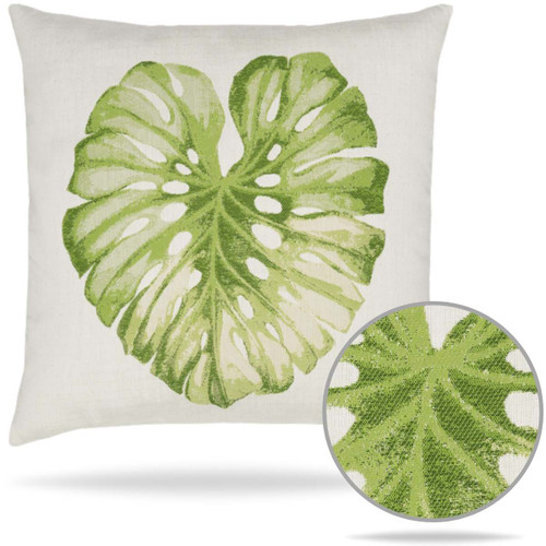 Lichen Leaf Green Tropical Pillow from Elaine Smith perfect for Indoor or Outdoors