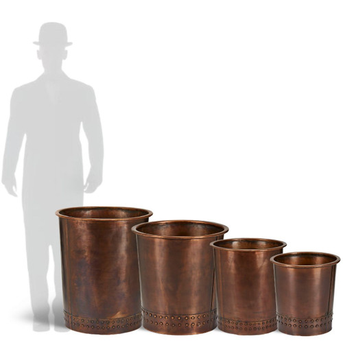 Charleston Copper Planters are available in 4 sizes