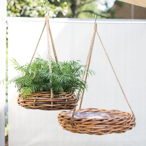 Cabana hanging Rattan Planters in two sizes
