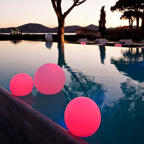 Floating Balls in Pool with Red led lights