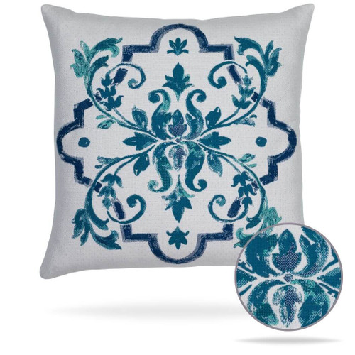 Talavera Stiching Details on Outdoor Pillow