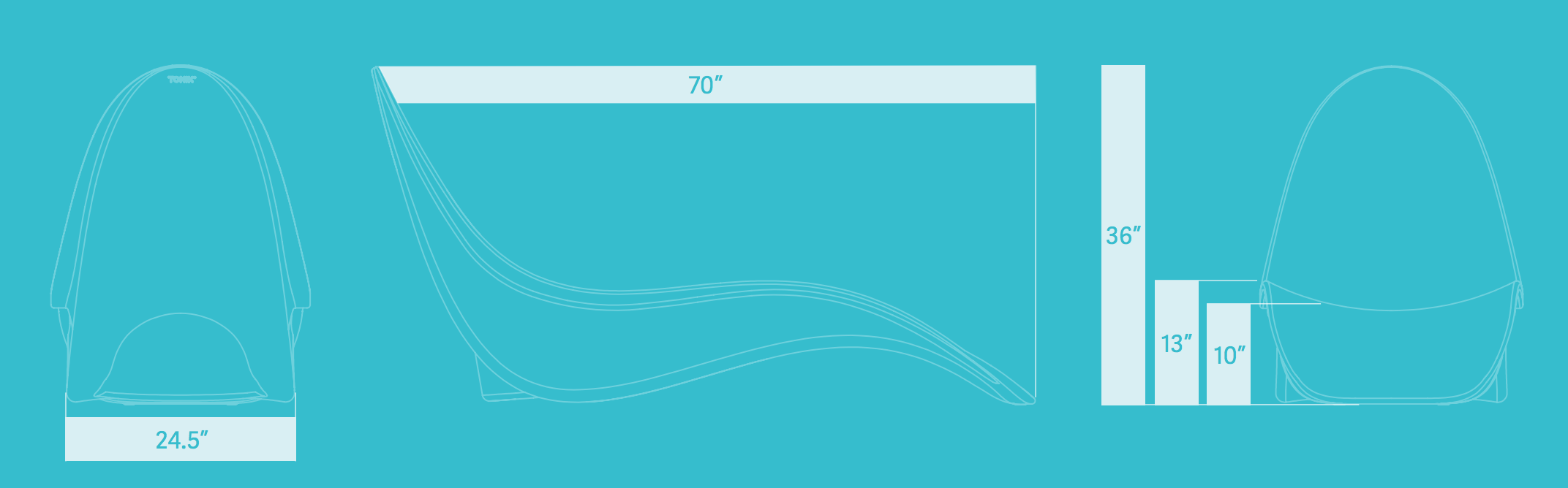 bikini-chaise dimensions and water depth