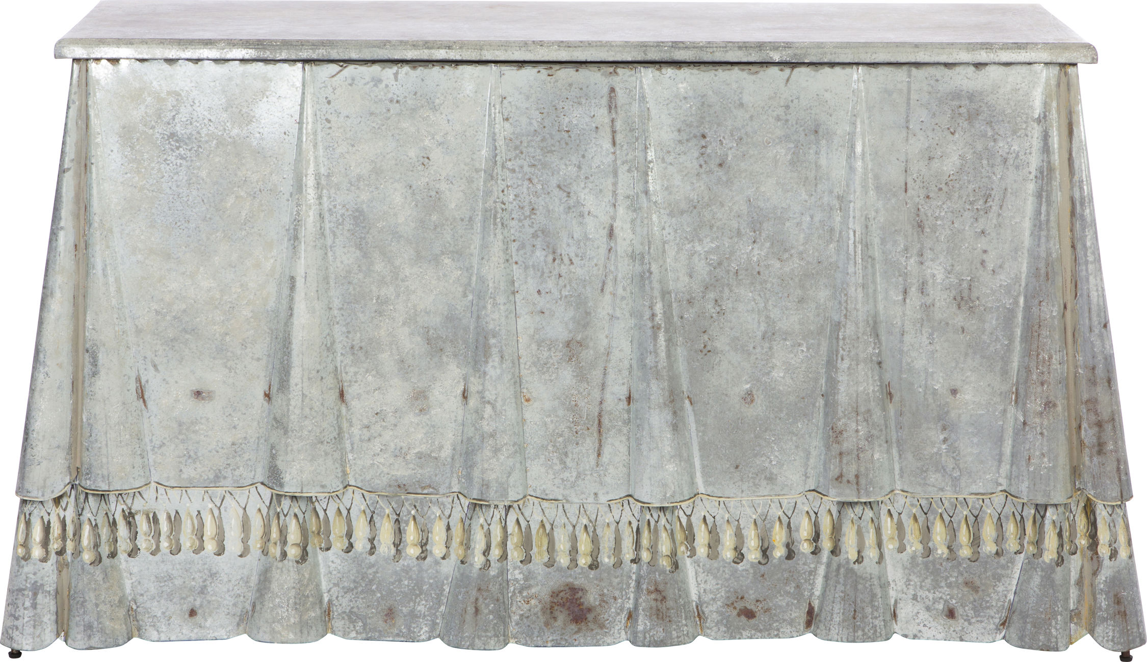 Drapery Inspired Billings Console Table of Zinc