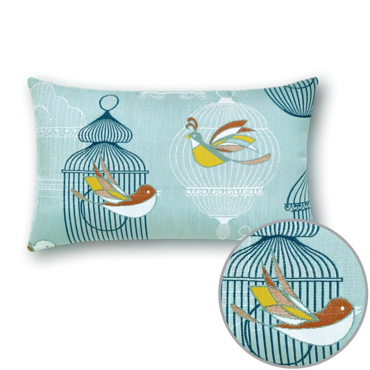 The birds and cages lumbar pillow from Elaine Smith brings a fun flair to the furnishings it graces..jpg