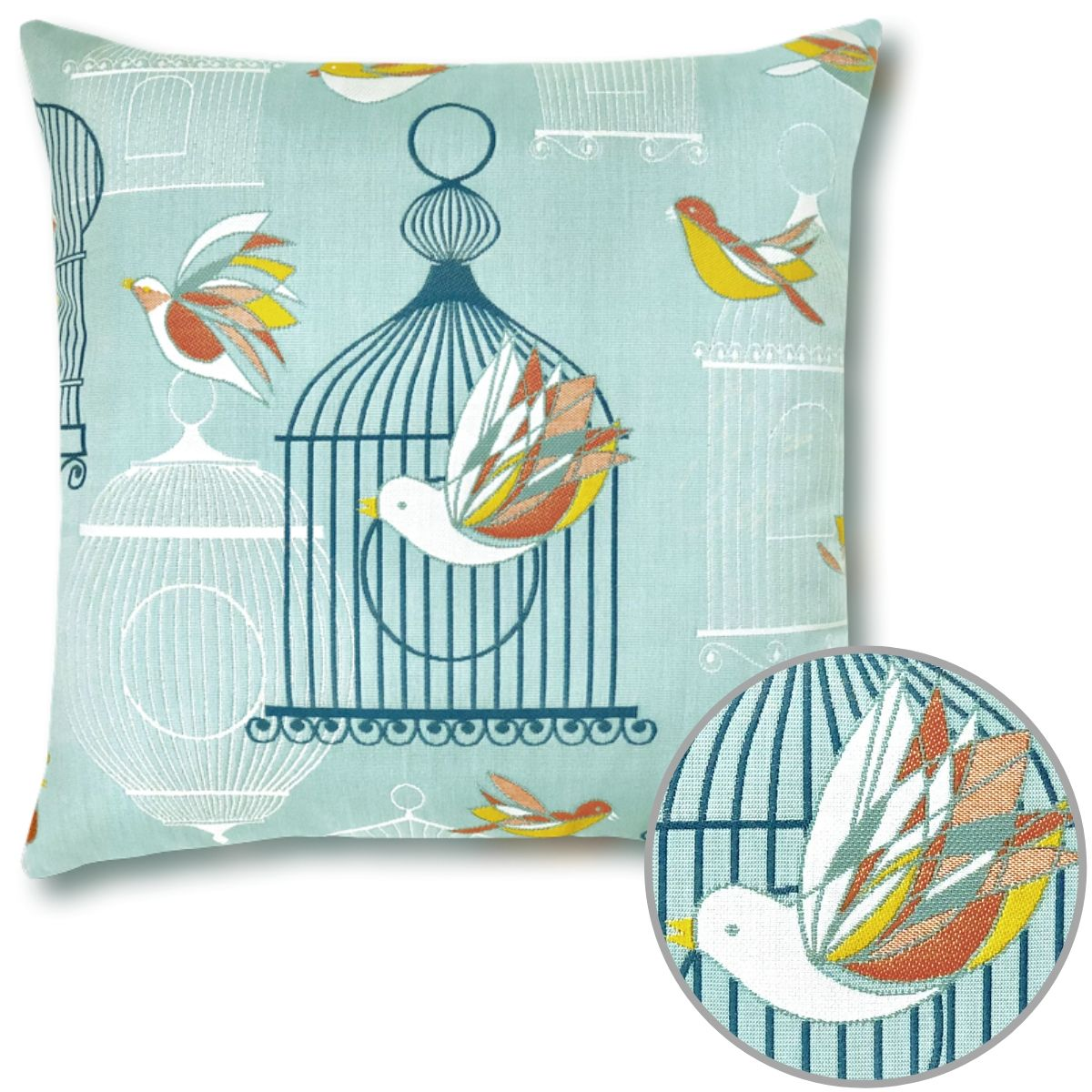 "The Birds and Cages design from Elaine Smith graces this exuberant 22"" square Pillow that is suitable for full outdoor use."