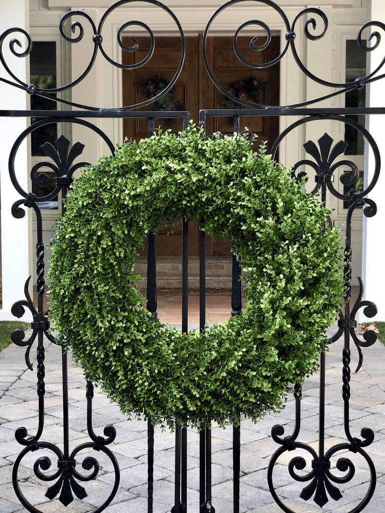 double sided boxwood wreath for gates