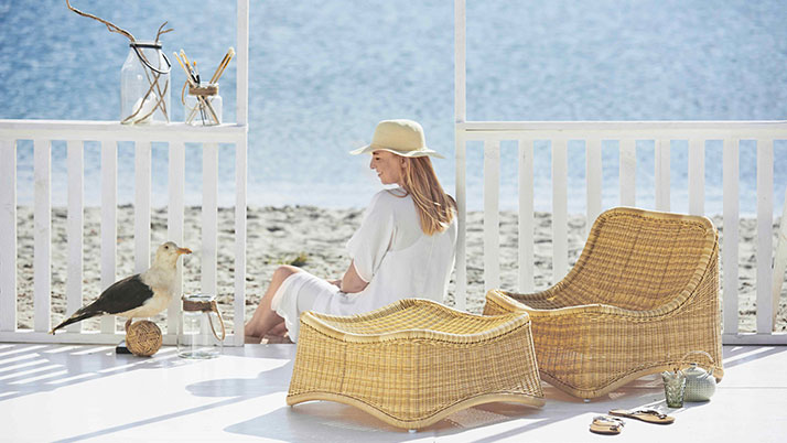 SIKA Chill Chair and Ottoman perfect for an outdoor beach porch