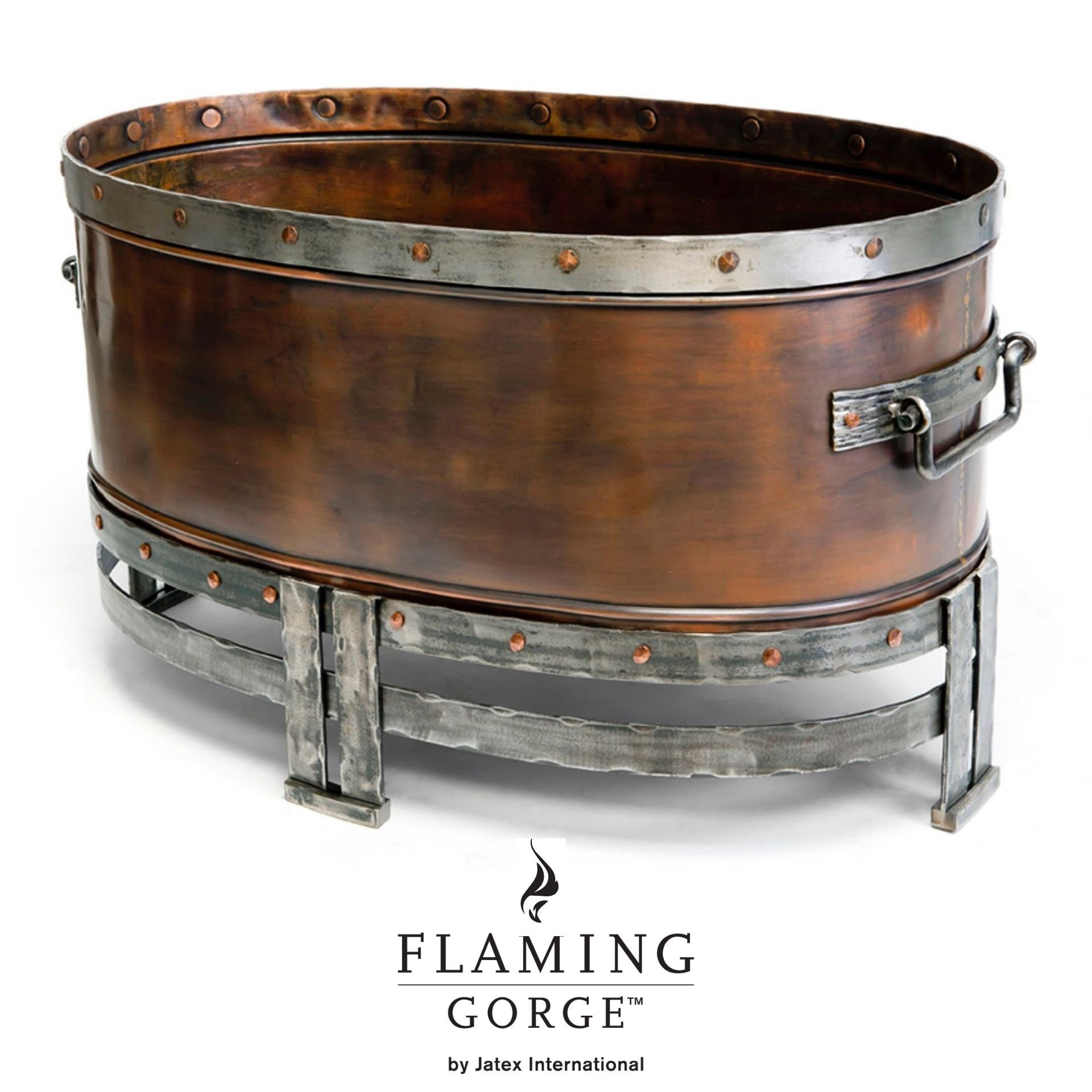 The Copperstone Firepit by Flaming Gorge is crafted of hand wrought iron and copper