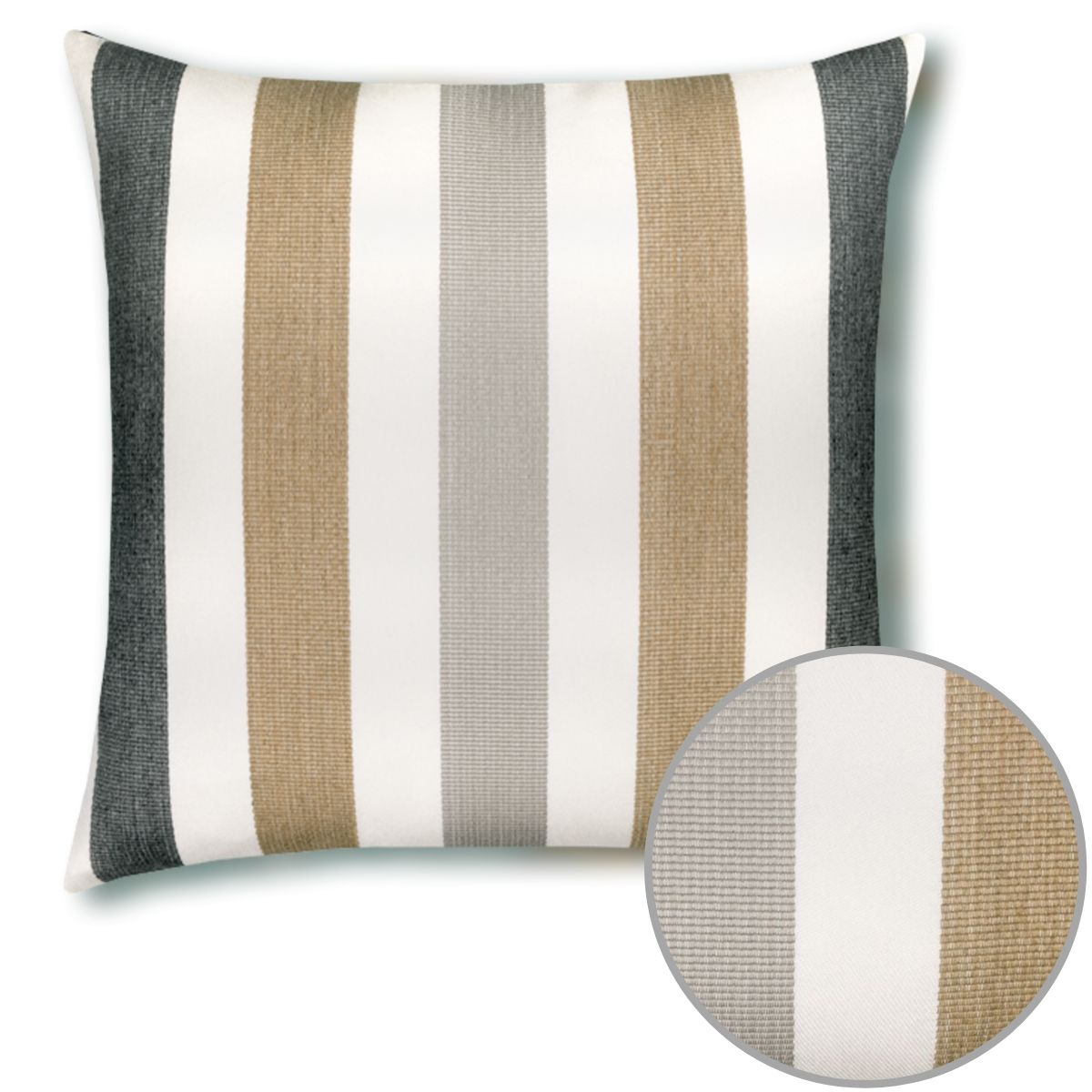 dune-stripe pillow and inset detail