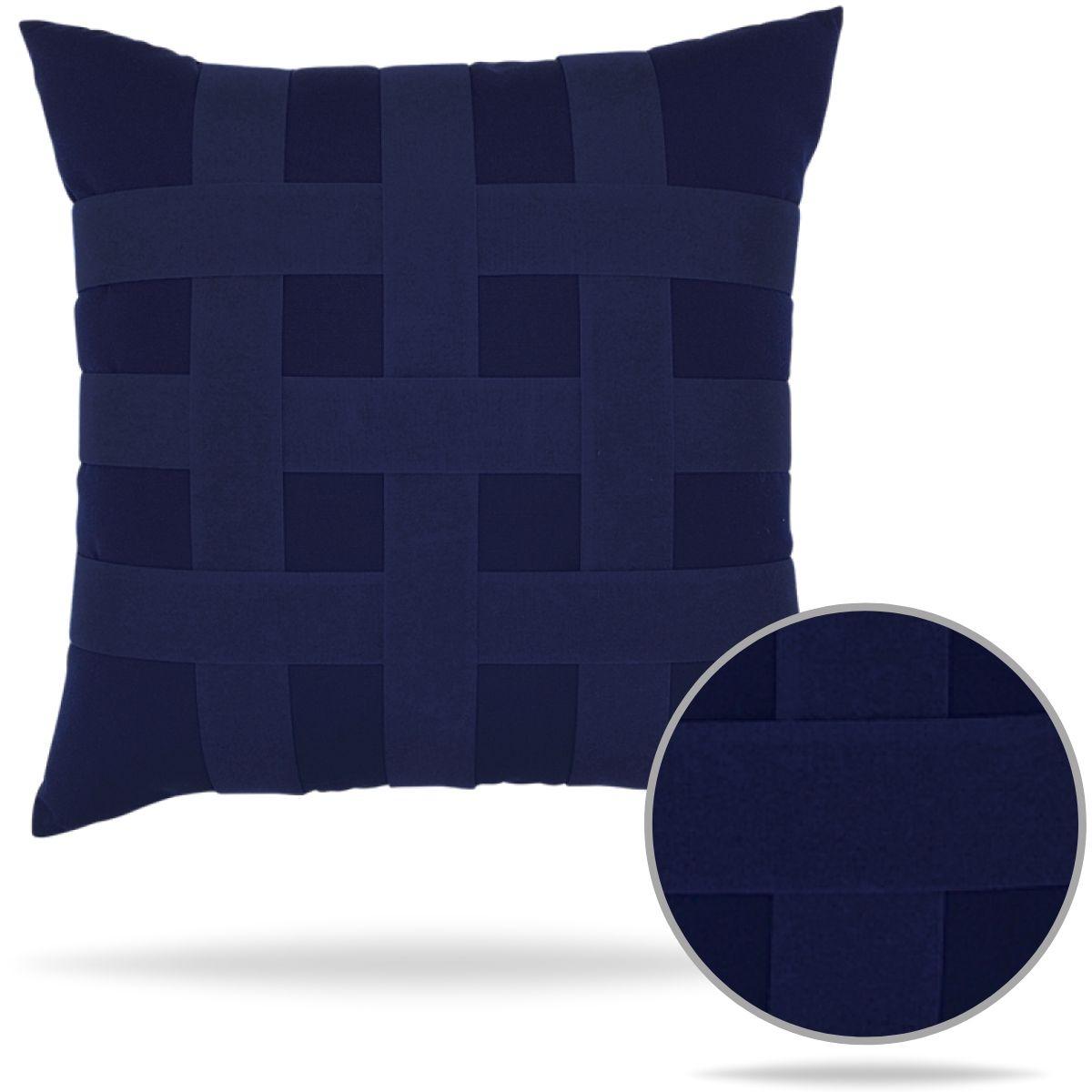 basketweave navy pillow elaine smith outdoors