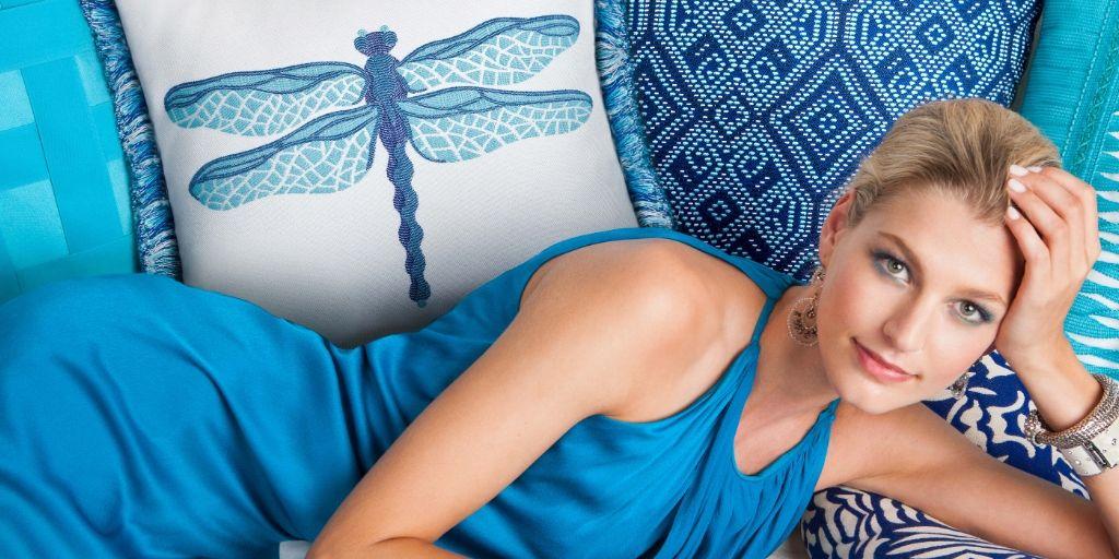 elaine-smith-outdoor-pillows dragonfly