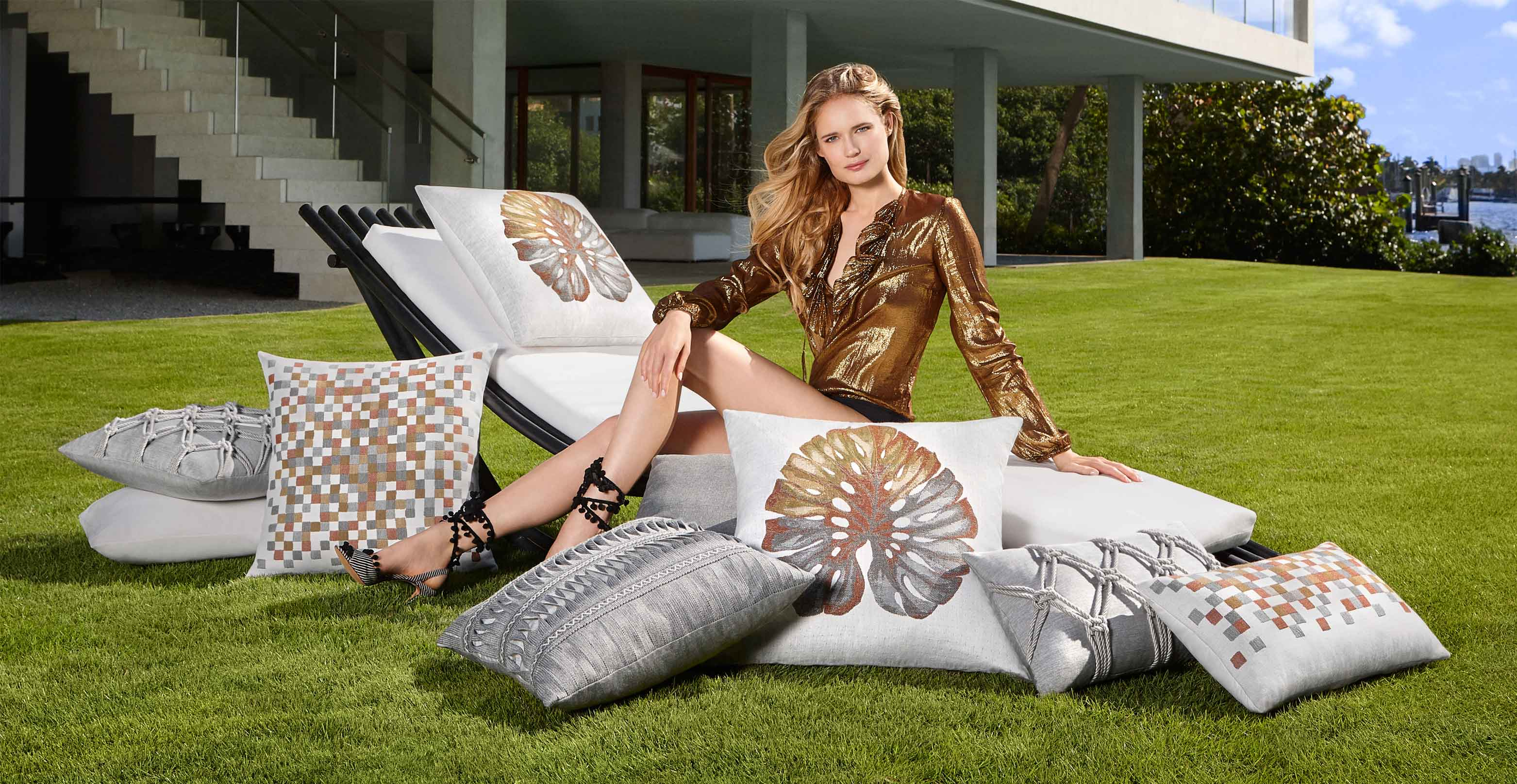 Elaine Smith Metallic Collection of Pillows
