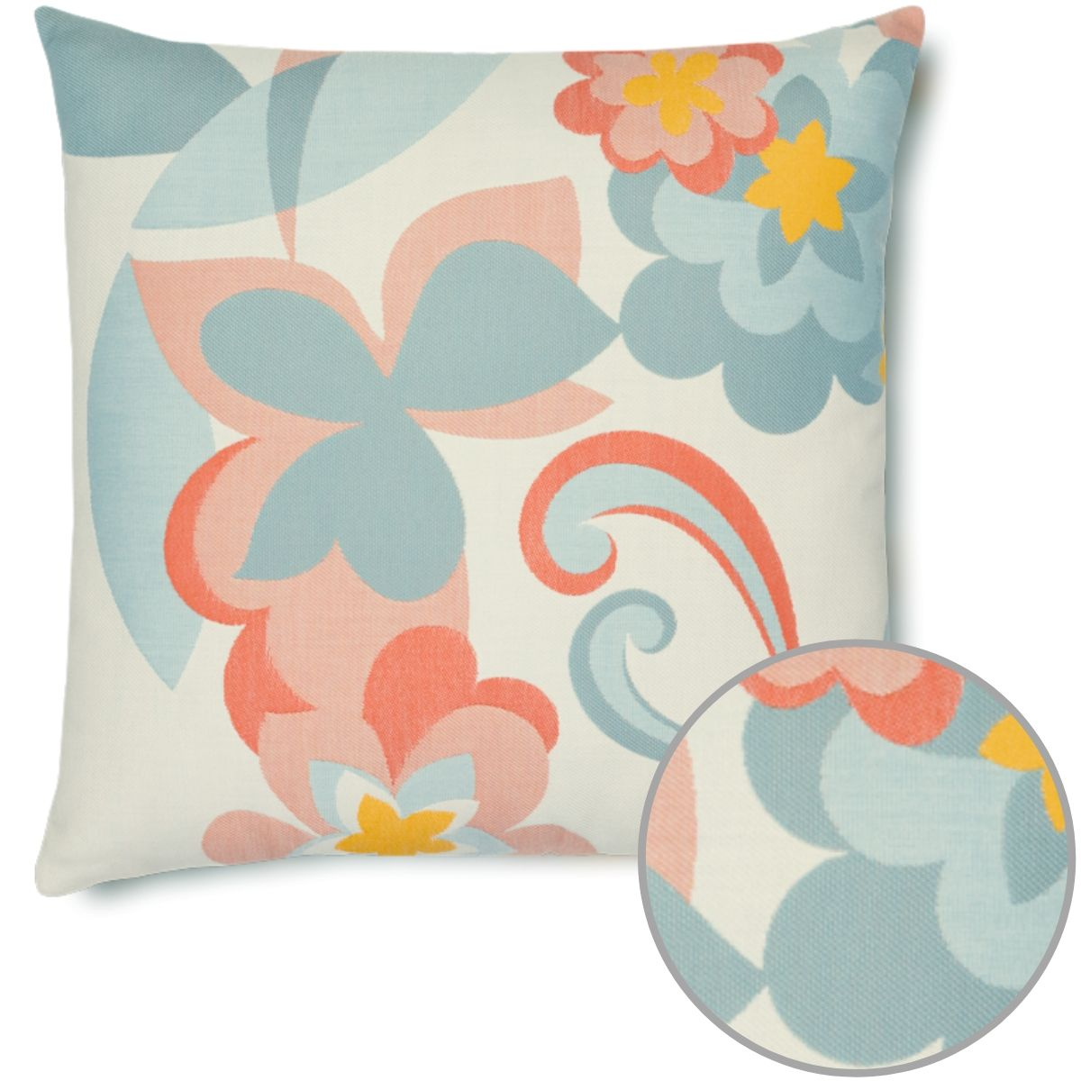 floral-pop outdoor sunbrella pillow detail