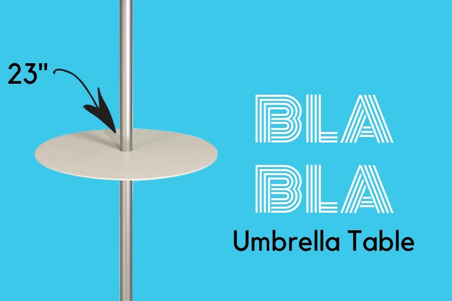 Umbrella Table Option to hold drinks or food above water or table height