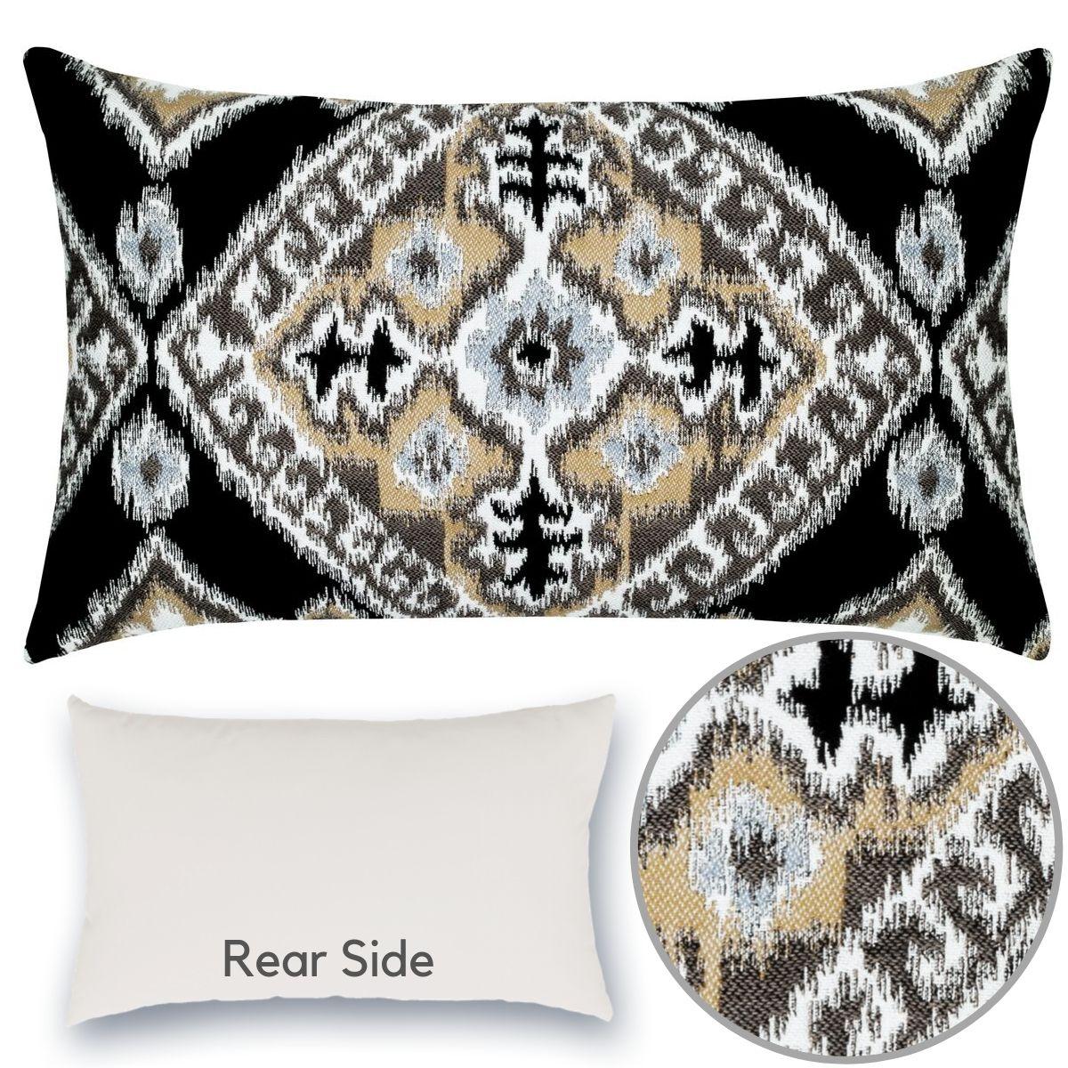 ikat-diamond-onyx-lumbar pillow
