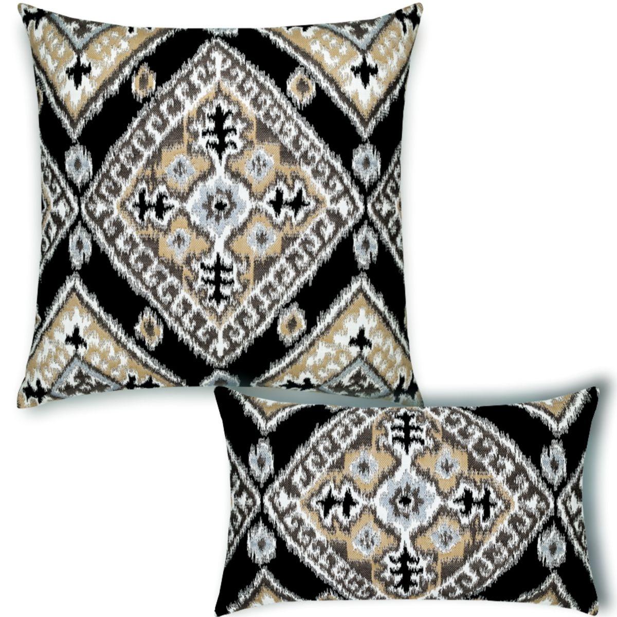 ikat-diamond-onyx pillow set