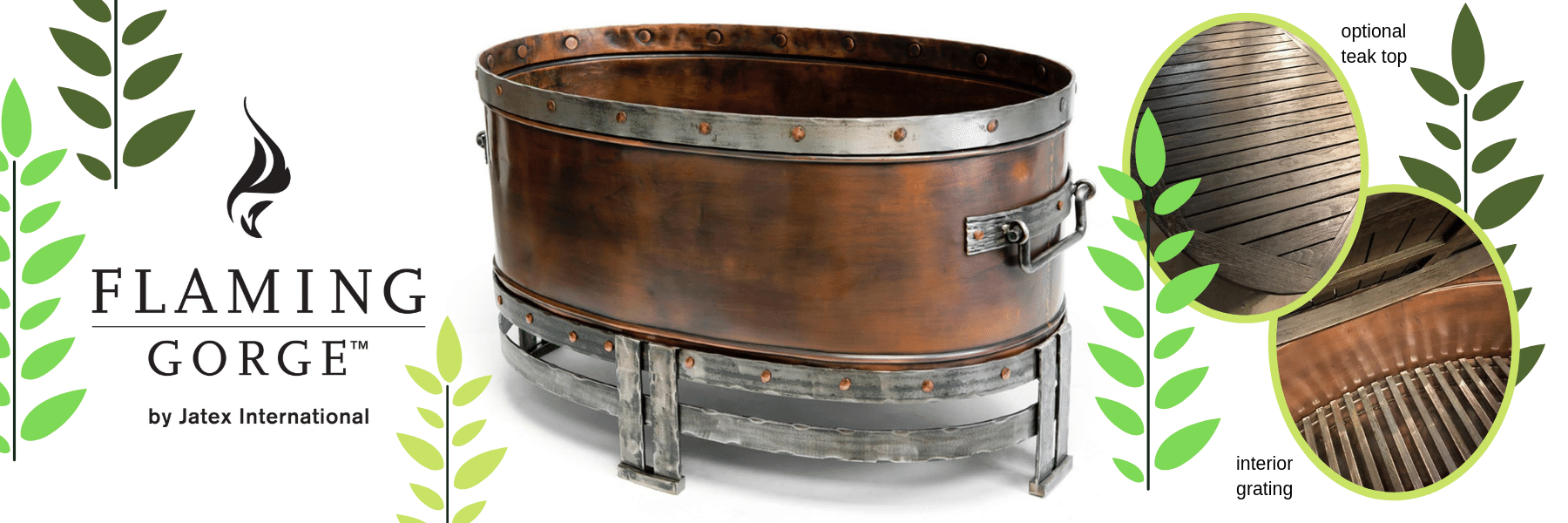 The Copperstone Firepit by Flaming Gorge is for the refined outdoors with its natural copper beauty