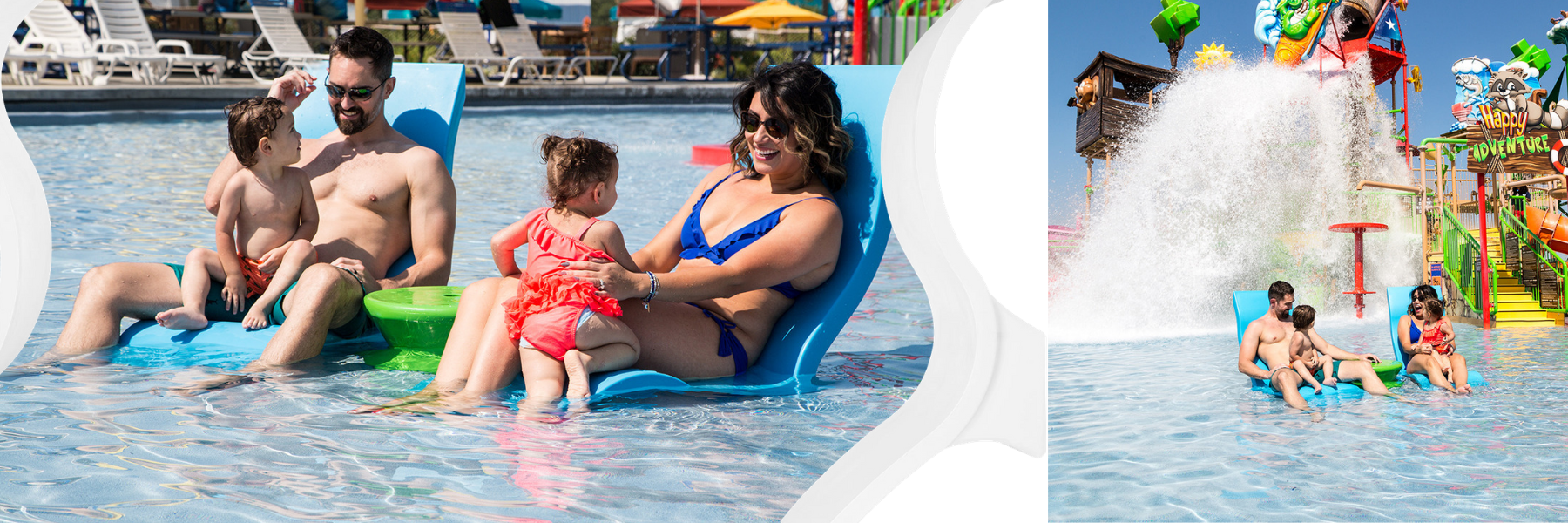 Ledge Lounger Signature Chaise Pair shown in action at the texas waterpark