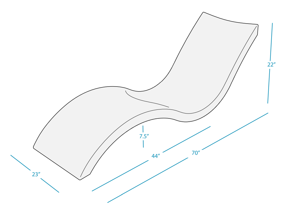 Sizes and Dimensions of the Ledge Lounger Chaise