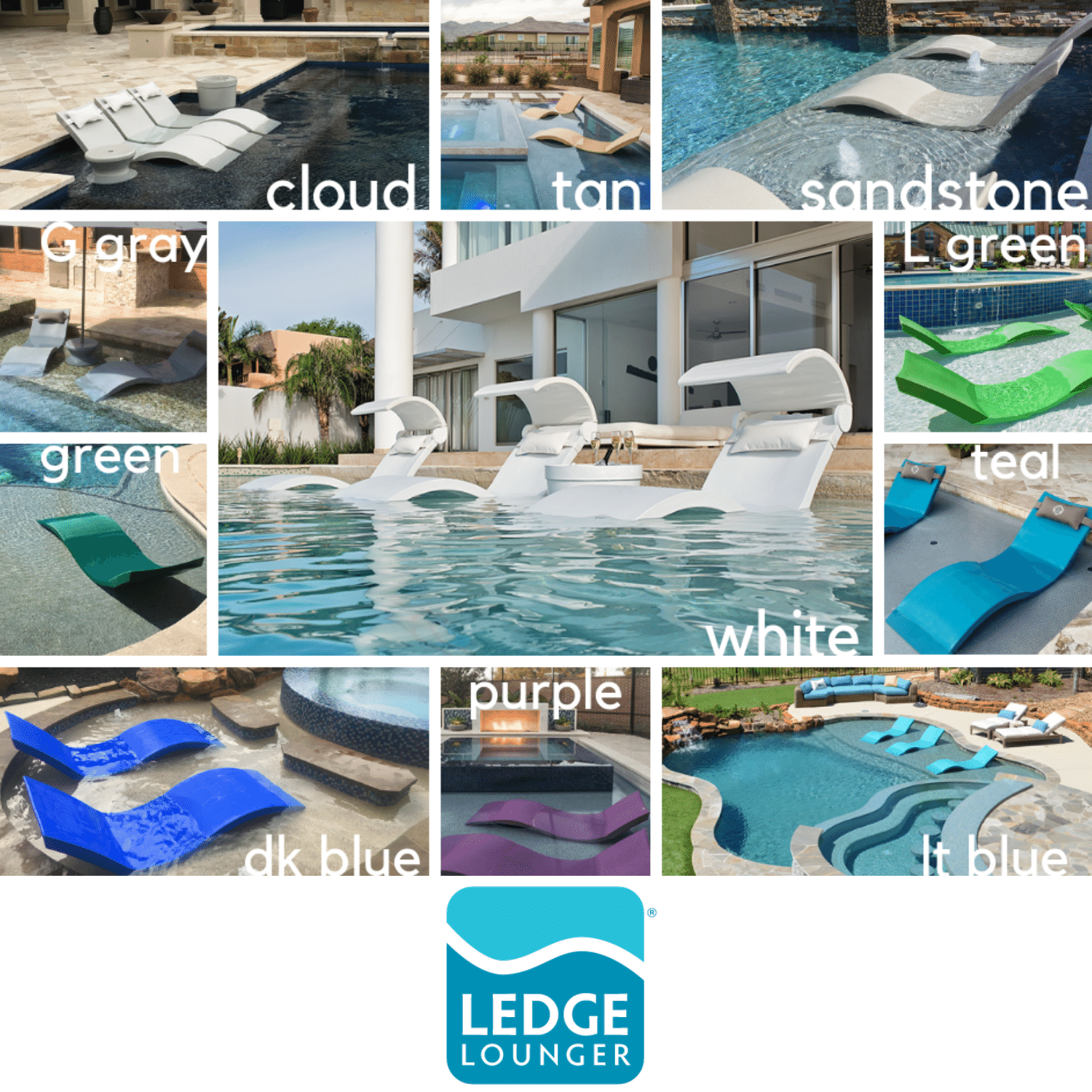 Ledge Lounger Pool Chaise Colors