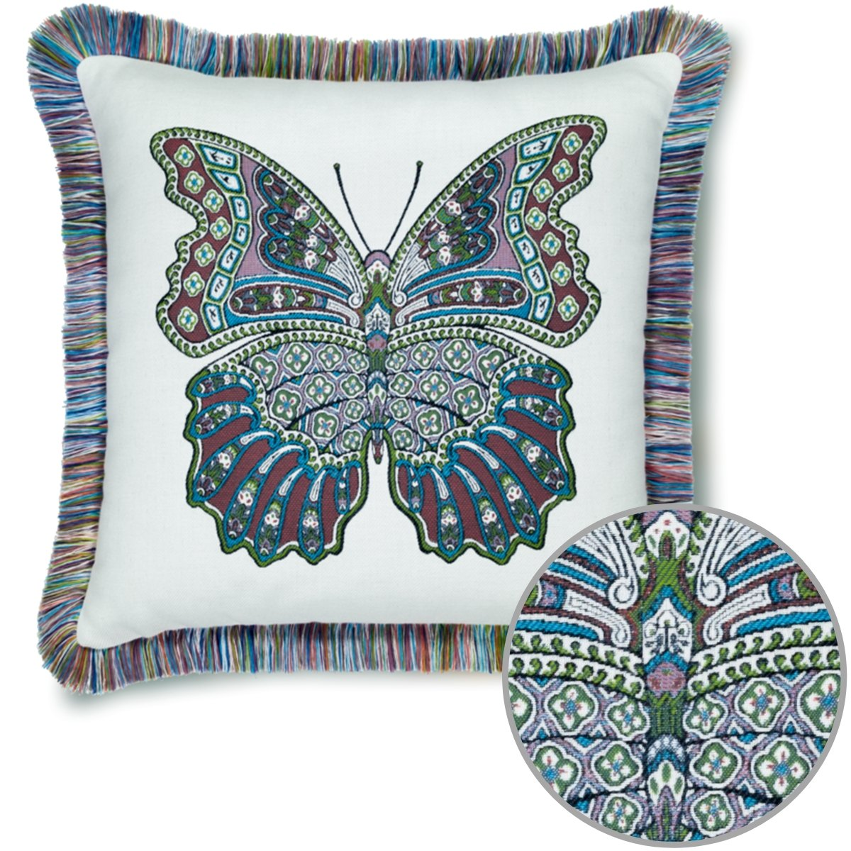 mariposa fiesta fringed pillow