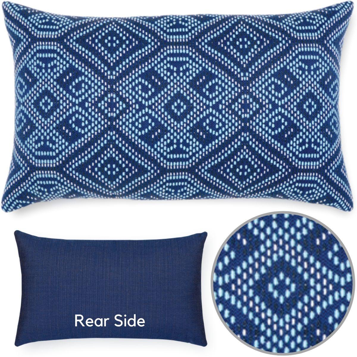 blue midnight-tile-elaine-smith-sunbrella-lumbar-pillow