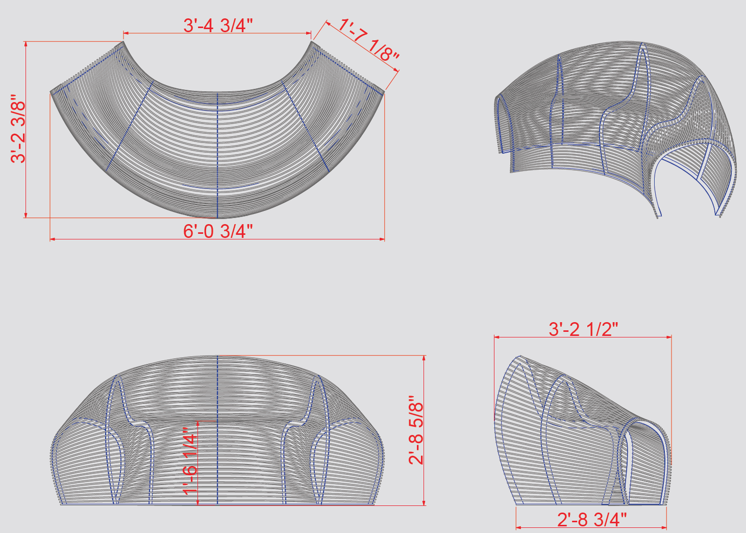 Parametric Lounger Dimensions
