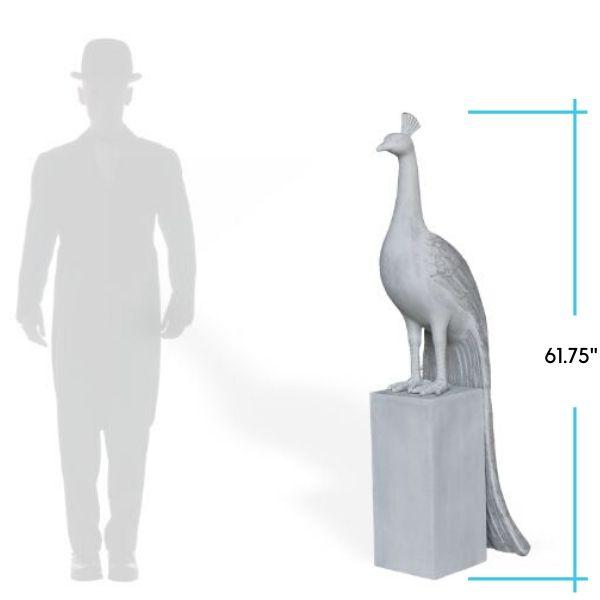 peacock-garden polystone statue-dimensions