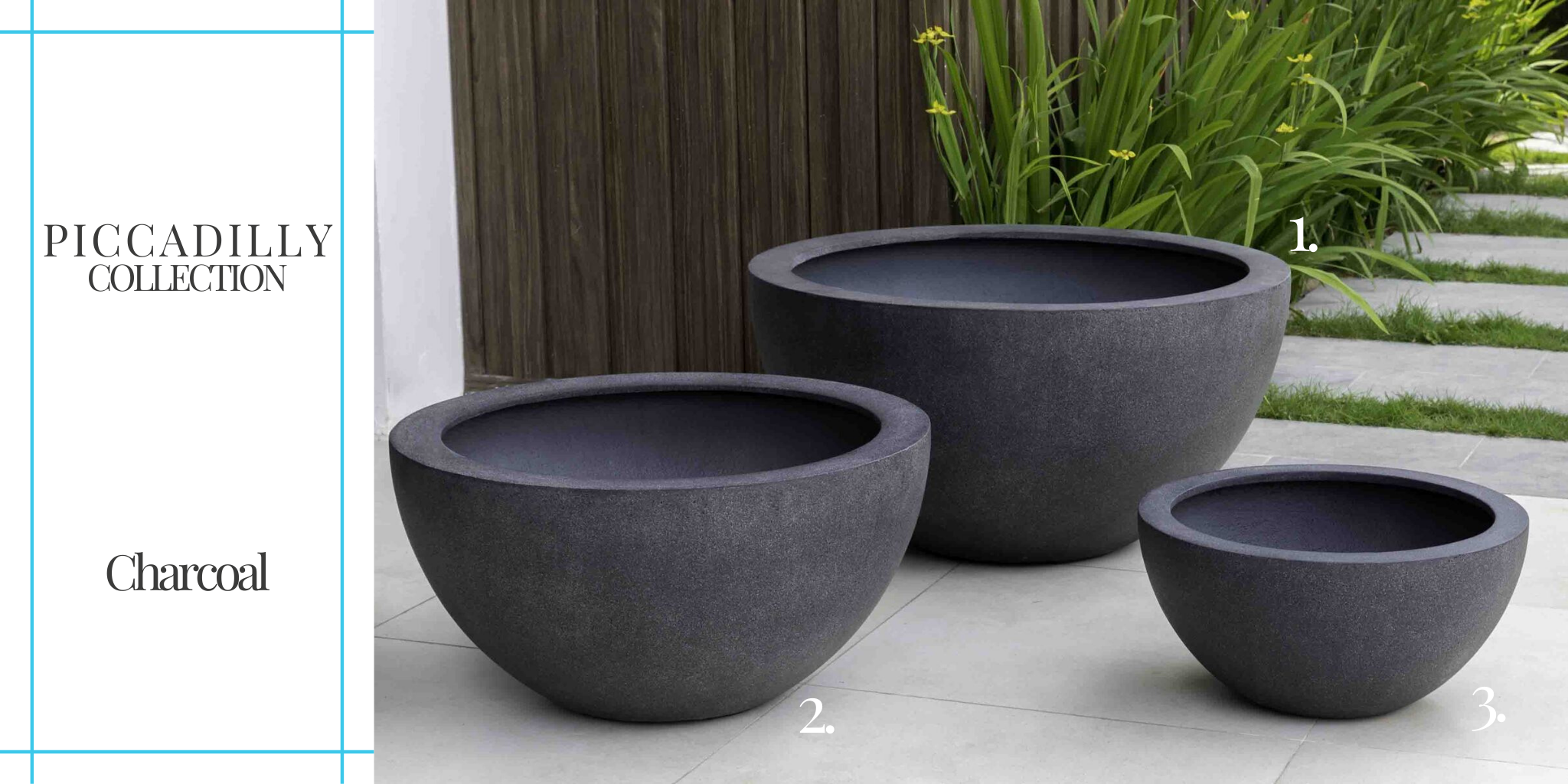 piccadilly-lite planter-collection-charcoal from Campania