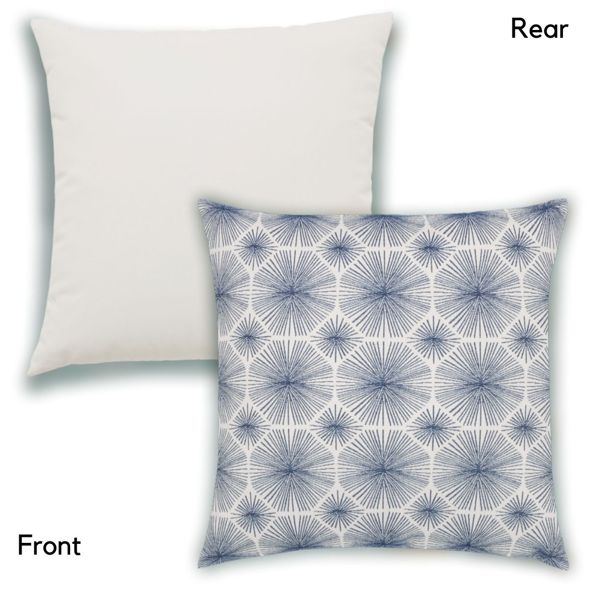 Radiance Indigo Front and Rear of Elaine Smith Pillow