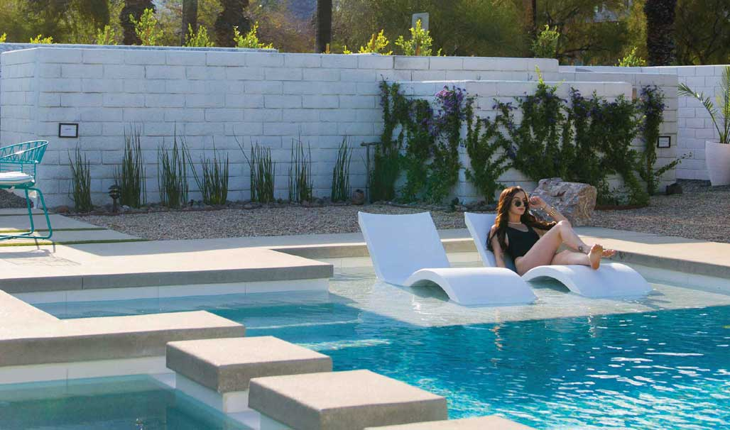 The Ledge Lounger Signature Chaise makes a comfortable addition to your pool tanning ledge