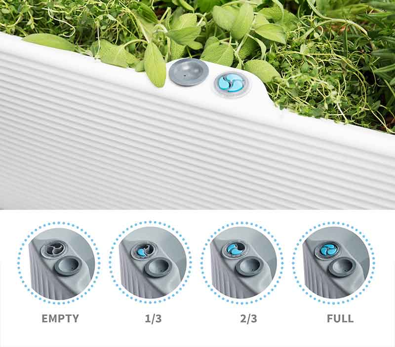 The Nest Planter has a trudrop-indicator to show its interior water level