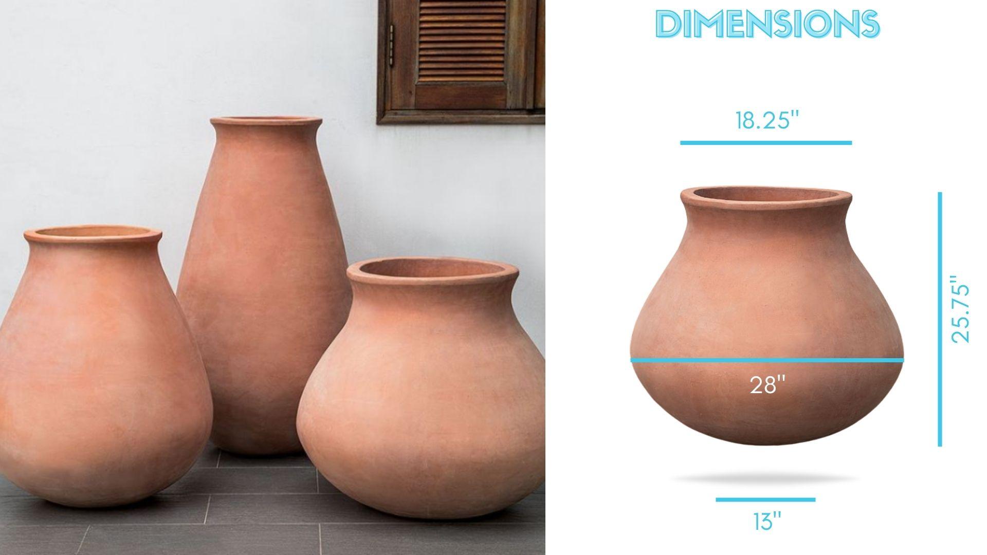 venasque-jar-dimensions planter terracotta