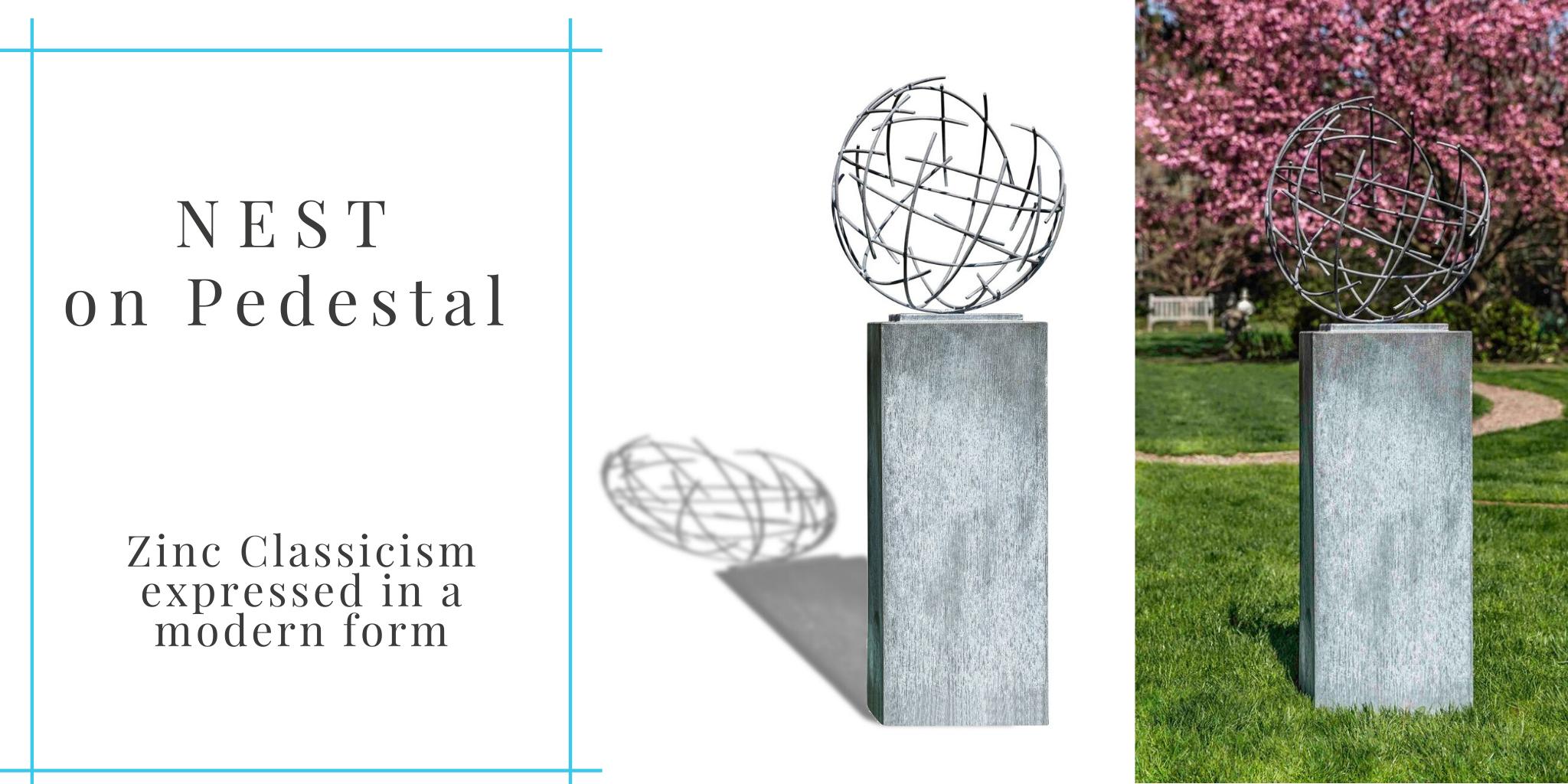 zinc-nest-sculpture-by-campania-on-pedestal-column