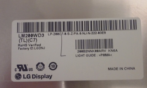 "LG LM200WD3 (TL)(C7) 20""  1600x900 TFT-LCD Monitor Panel"