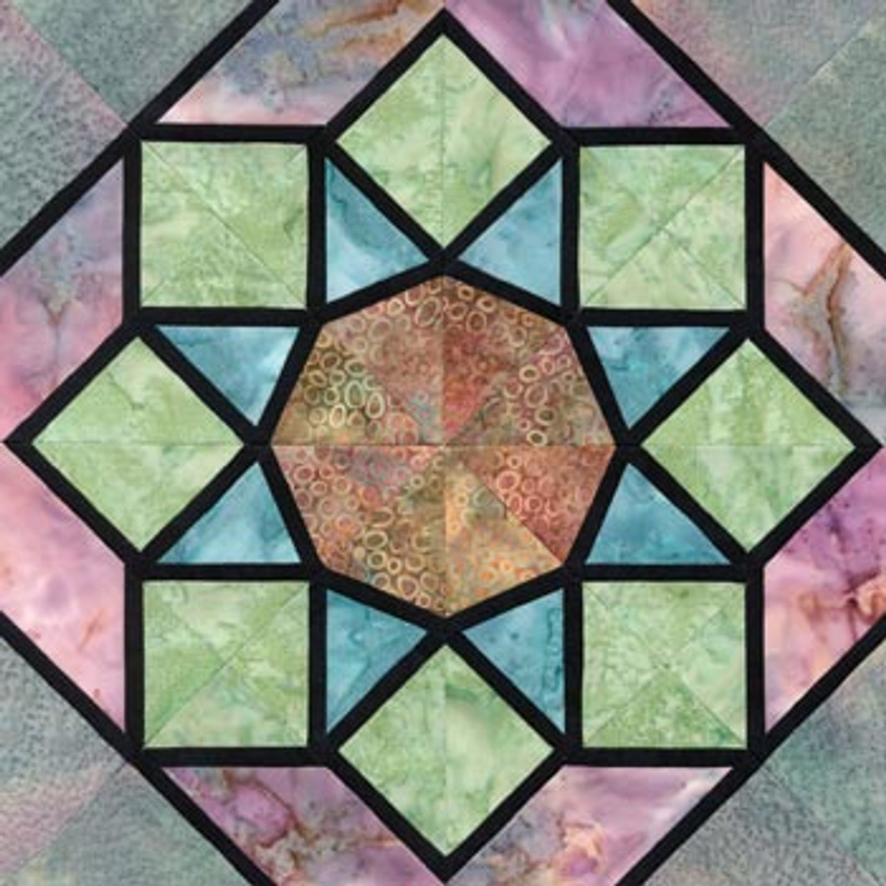 Stained Glass Rose Window Paper Pieced Quilt Block Pattern