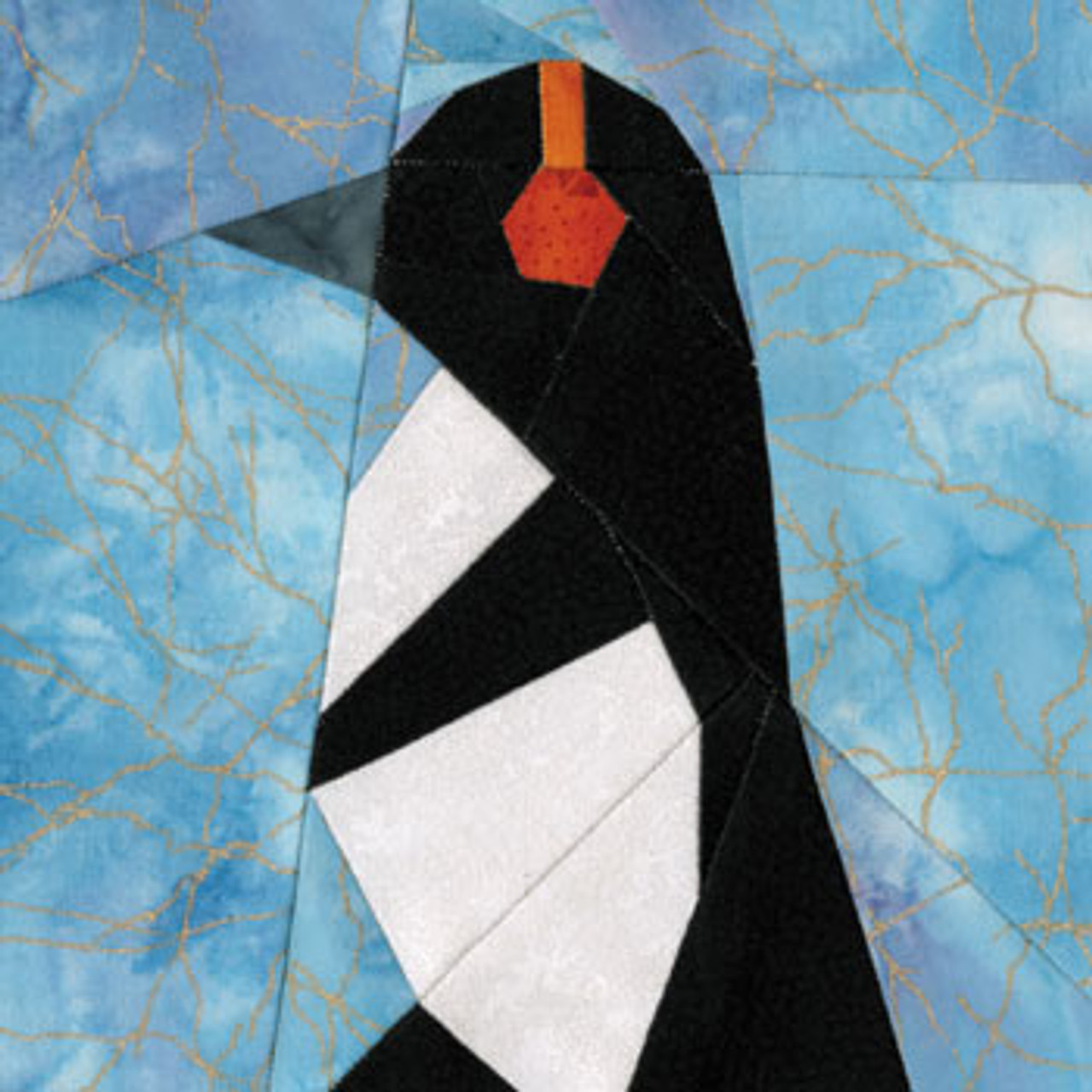Penguin With Earmuffs Paper Pieced Quilt Block Pattern