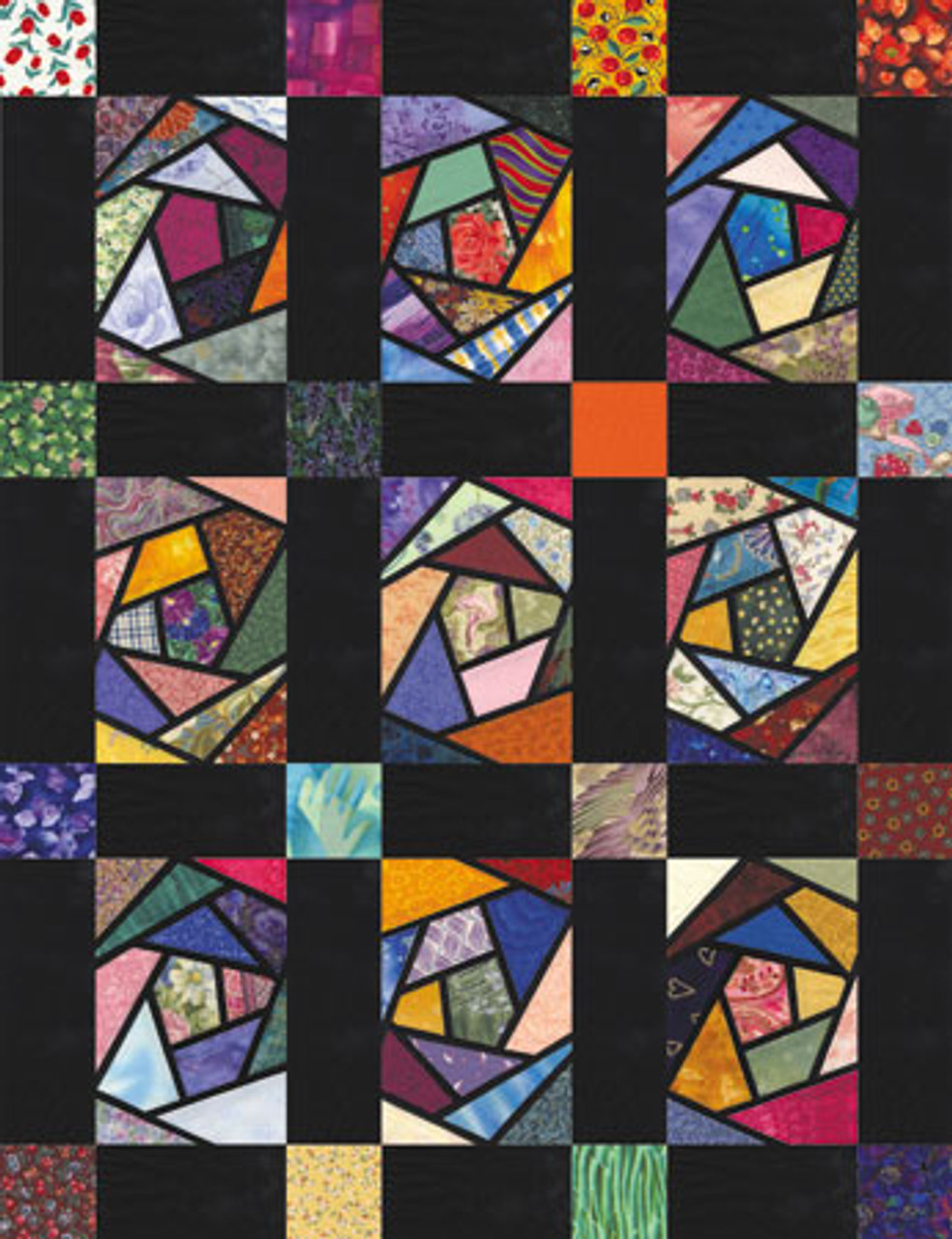 Crazy Stained Glass Paper Pieced Quilt Pattern