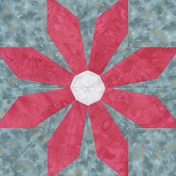 Christmas Flower Paper Pieced Quilt Block Pattern