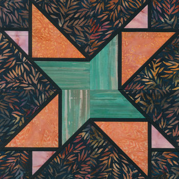Stained Glass Bamboo Stalk Paper Pieced Quilt Block Pattern